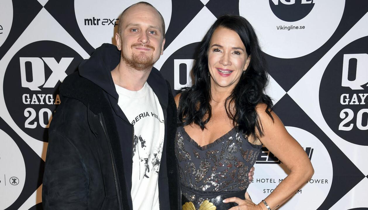 Sofia Wistam med sonen Kid Eriksson på QX-galan 2019.