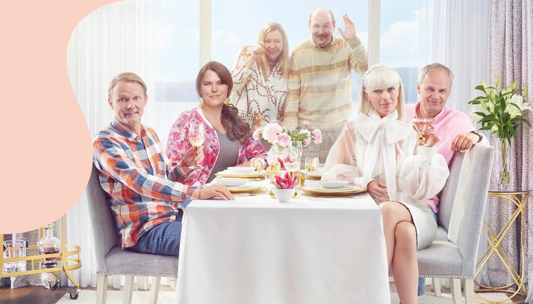 Felix Herngren, Mia Skäringer, Malin Cederbladh, Henrik Dorsin, Johan Rheborg och Josephine Bornebusch i säsong 6 av Solsidan som har premiär den 20 oktober 2019.