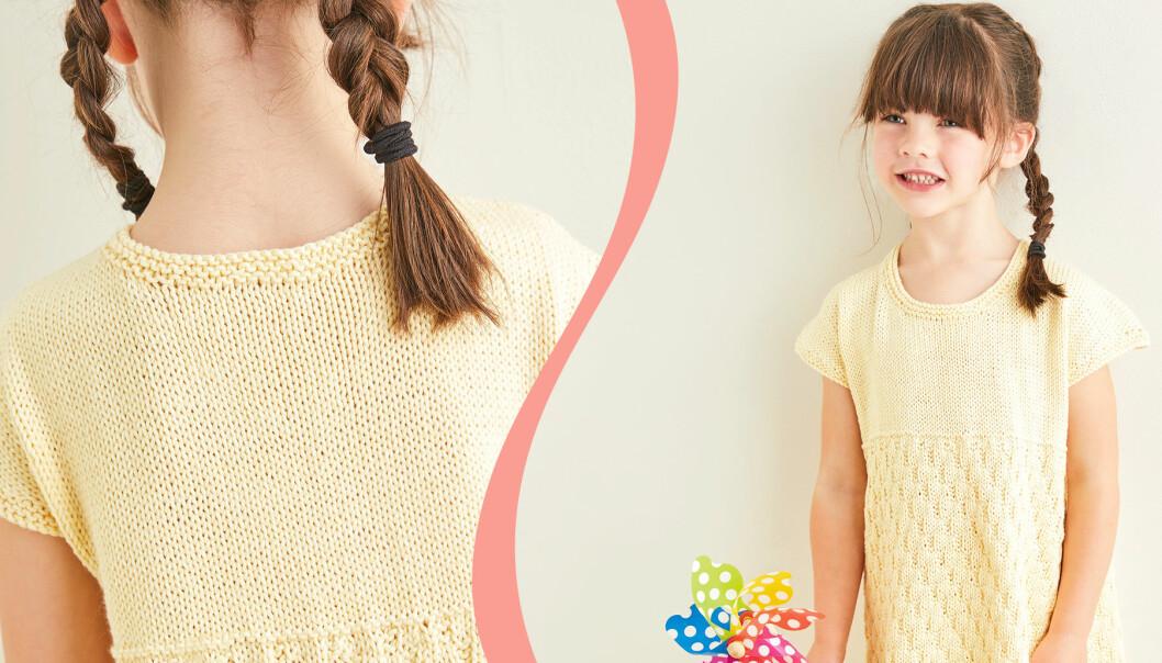 Stickad sommarklänning i gul färg som bärs av en flicka med kastanjebrunt hår.