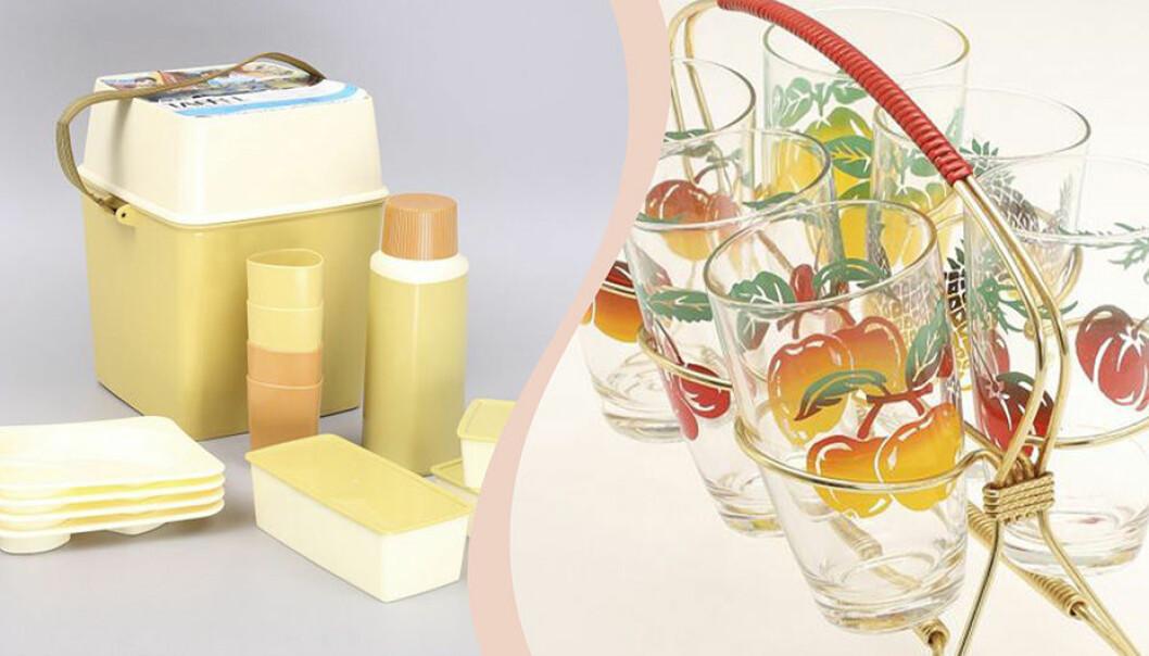 Delad bild. Picknickset i ljusgult och gräddvitt och sex saftglas med gulröda äpSplen i ett guldigt ställ med rött handtag.