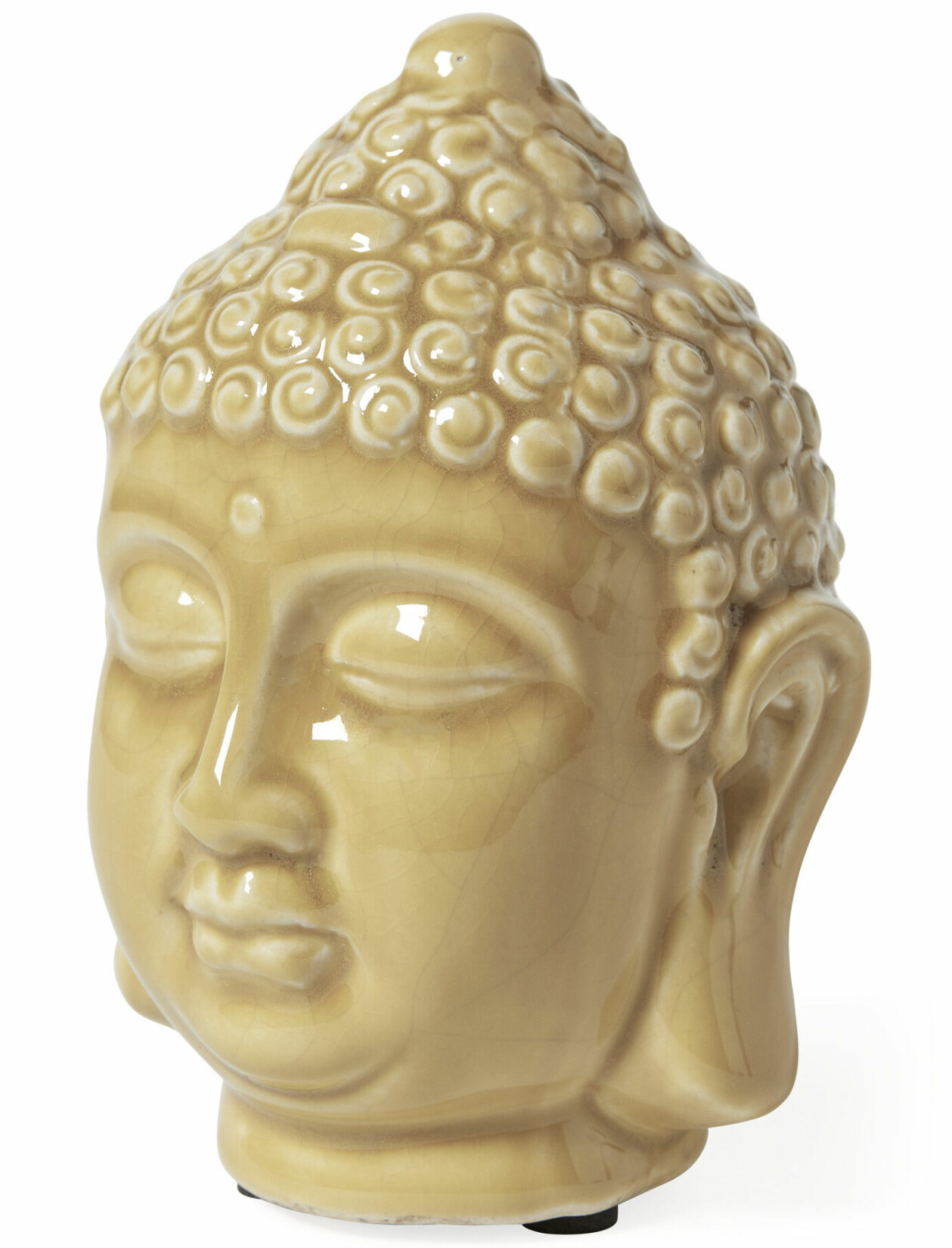 Sovande Buddha-huvud i gul keramik, från Mio
