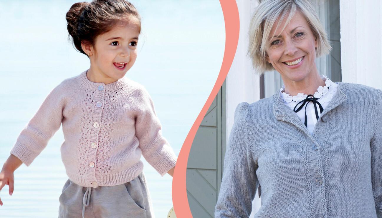 En liten flicka och en äldre kvinna bär varsin stickad kofta.
