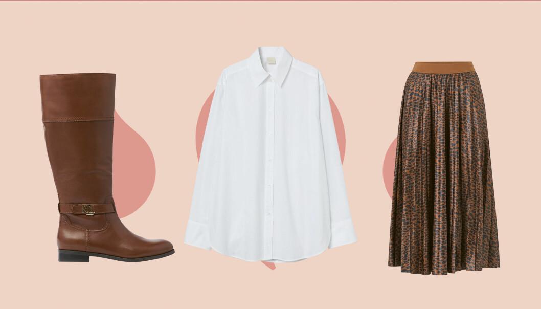 Stövlar, vit skjorta och brun kjol