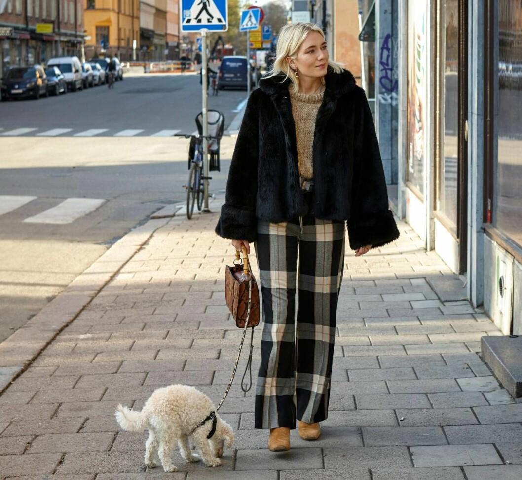 Josefin Dahlberg promenerar med sin hund Moon.