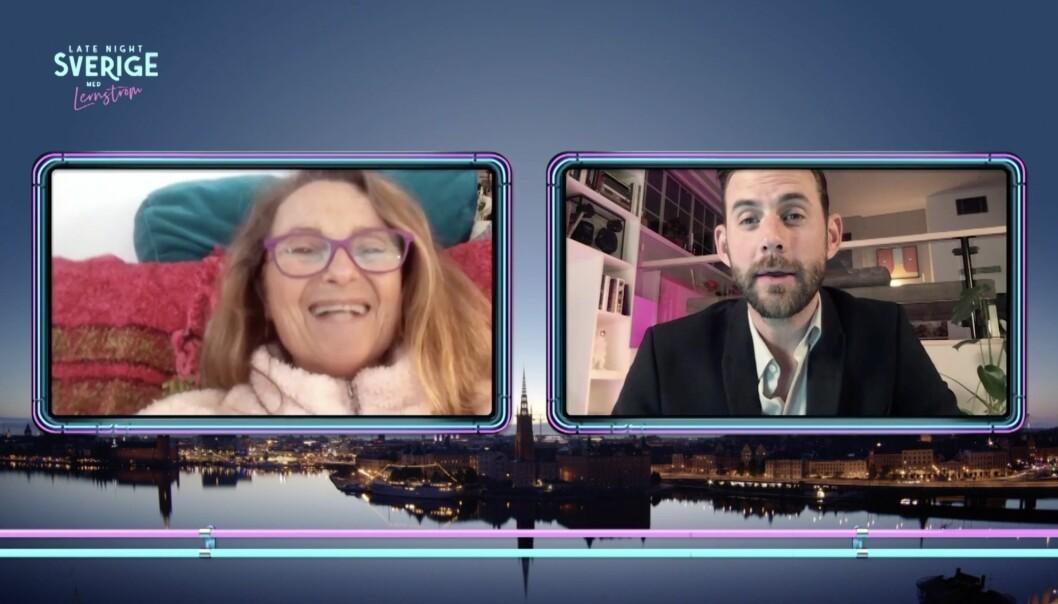 Suzanne Reuter intervjuad av Pär Lernström i Late night Sverige i TV4.