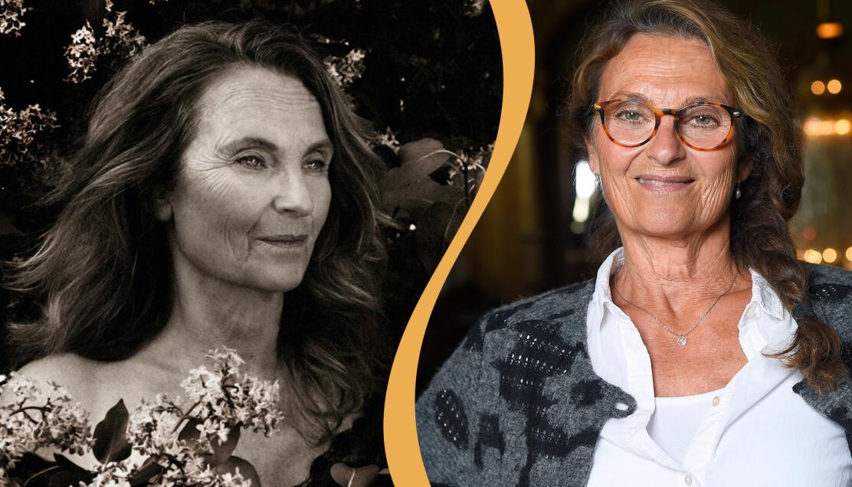 Suzanne Reuters bild i Sagolika kvinnor-kalender ihop med en bild på henne i glasögon.