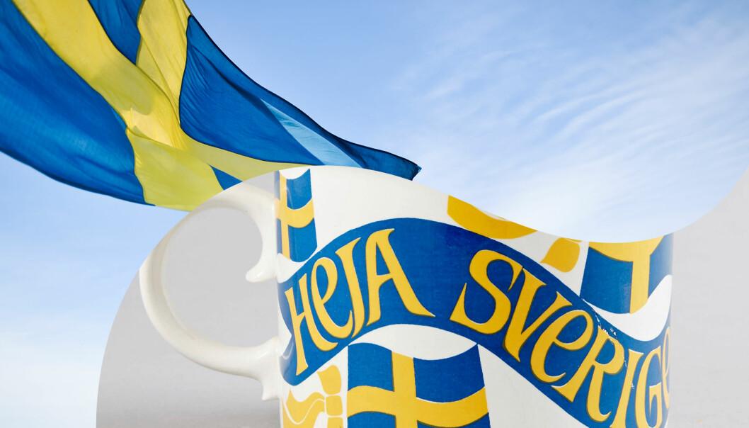 Kollade av Sverigepottan och svensk flagga