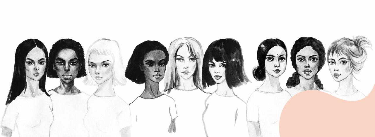 Tecknad bild av 9 kvinnor.