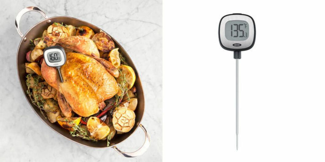 Köttermometer som ger omedelbara temperatursvar.