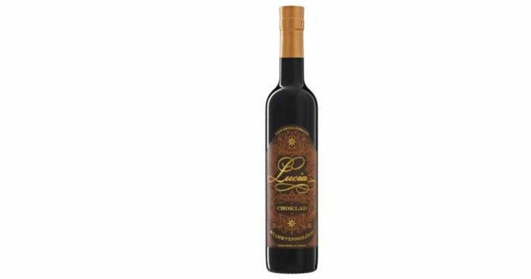 Lucia choklad, Röd starkvinsglögg 15 %, nr 76504,  74 kr/50 cl är fyllig, söt och rödvinslik med en stor doft av kanel och nejlika.