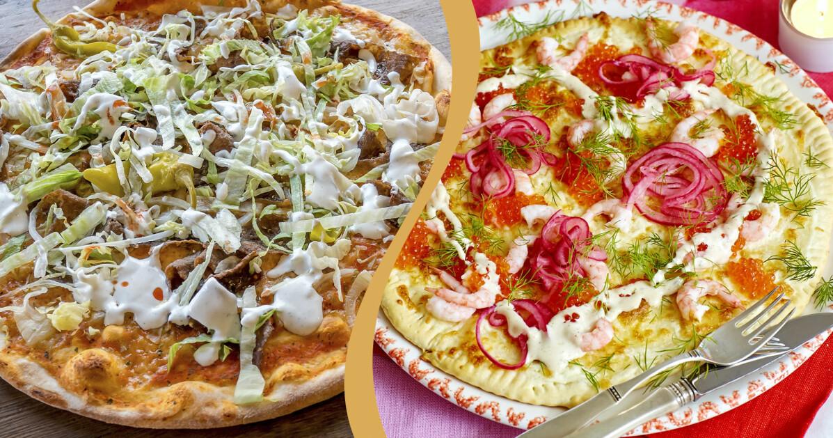 Till vänster: Klassisk kebabpizza. Till höger: Pizza bianco med räkor, picklad rödlök och rom.