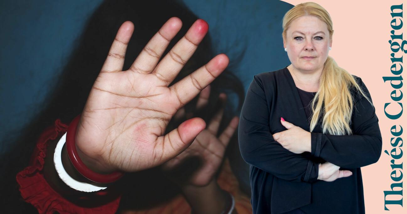 En kvinna som försöker värja sig mot en mans våld kombinerat med en bild på Therése Cedergren.