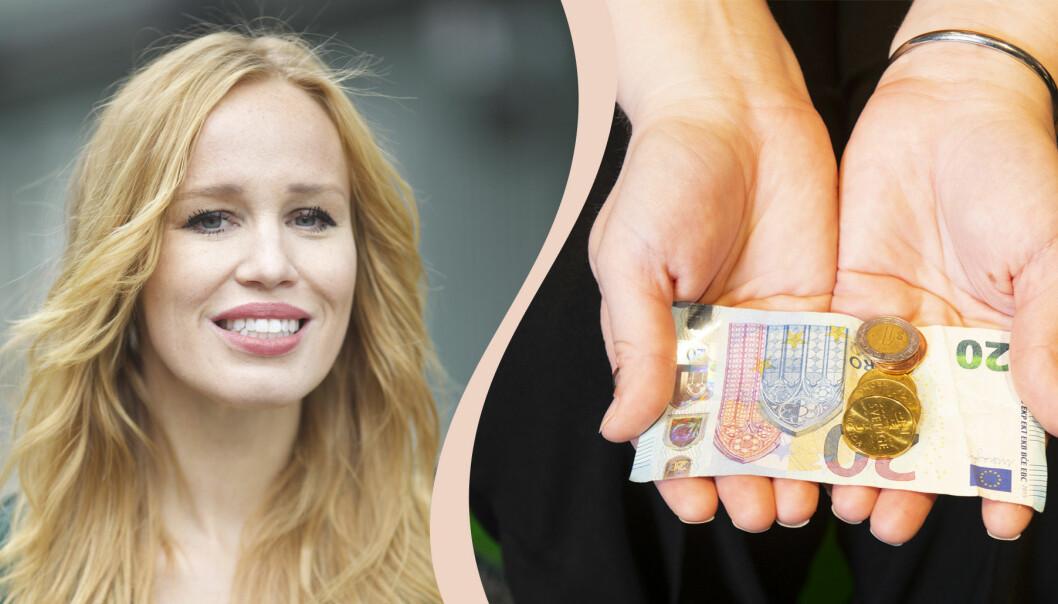 En bild på egenföretagaren Therese Suazo och två händer som håller i pengar.