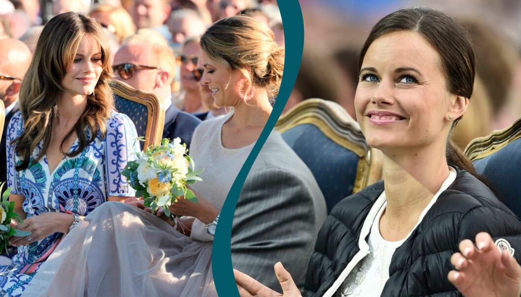 Till vänster: prinsessan Sofia och prinsessan Madeleine. Till höger: prinsessan Sofia.