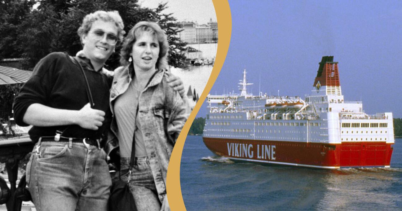 Till vänster: Tyska turisterna Klaus Schelkle och Bettina Taxis som attackerades när de övernattade på finlandsfärjan Viking Sallys däck. Till höger: Färjan Viking Sally på havet.