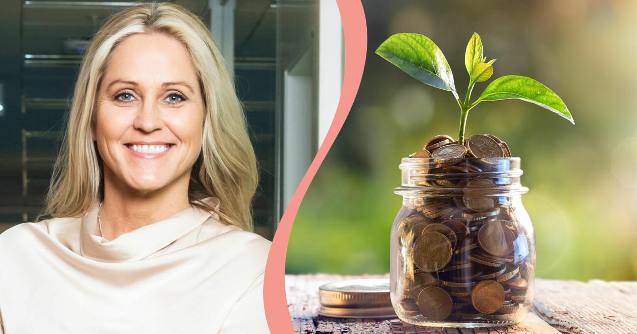 Till vänster syns Christina Sahlberg, sparekonom på Compricer och till höger syns en burk full av mynt där det växer en planta, för att symbolisera hur pengar kan växa om man investerar dem.