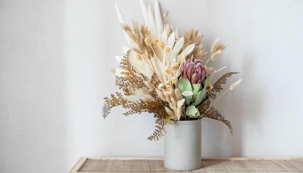 Torkade blommor är modernt i inredningen igen.