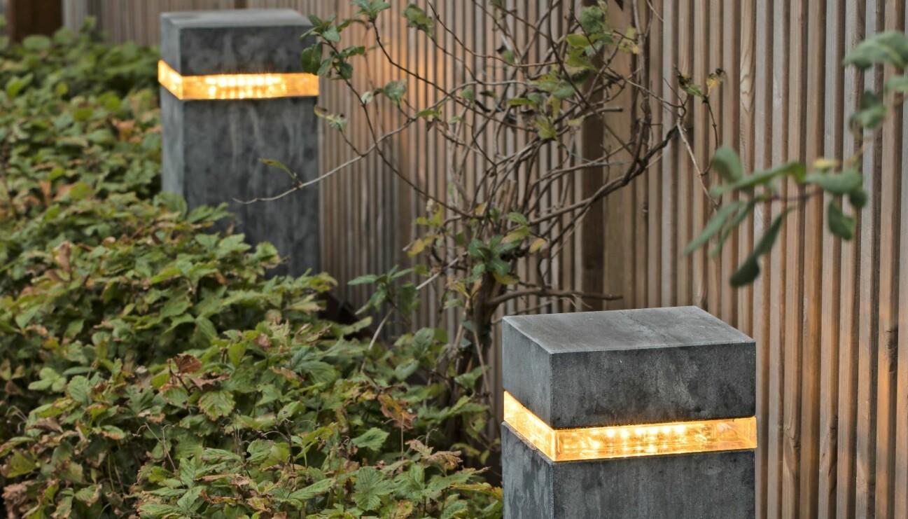 Trädgårdsbelysning med LED, inkopplad med 12 voltsarmatur.