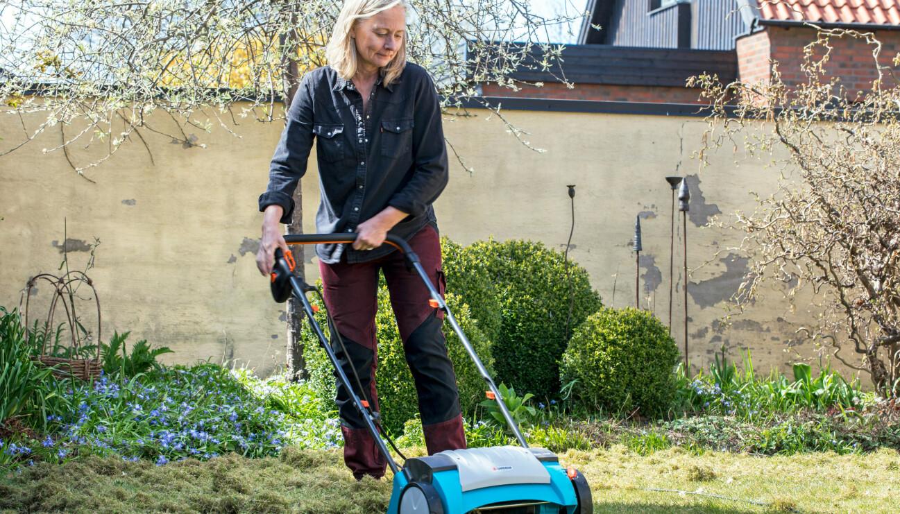 Anni Jähde ger gräsmattan en bra start i mars-april.