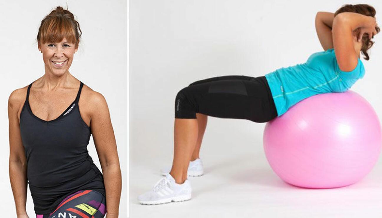 Kvinna tränar ryggen på en pilatesboll.