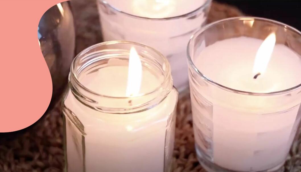 Tre doftljus i burkar och glas som är enkla att göra själv.