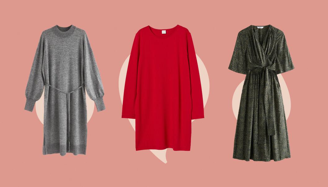Tre klänningar, en grå, en röd och en grön