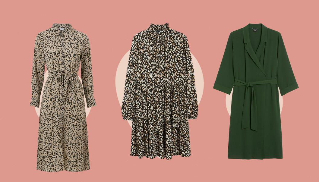 Tre klänningar i olika färg och mönster.