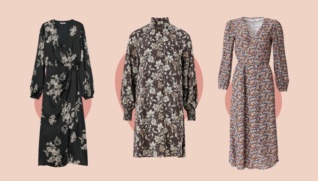 Tre olika mönstrade klänningar.