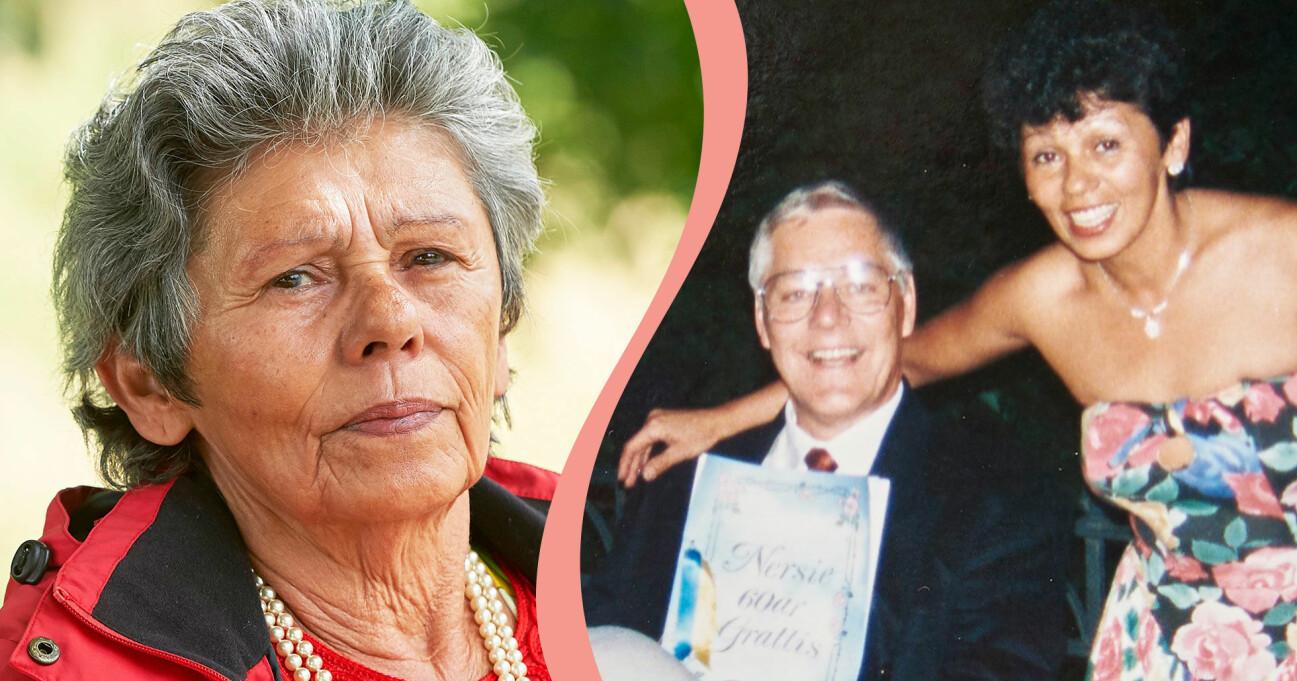 Josefa Engkvist idag kombinerat med en bild på henne och maken Gert Green som mördades av Ricard Nilsson.