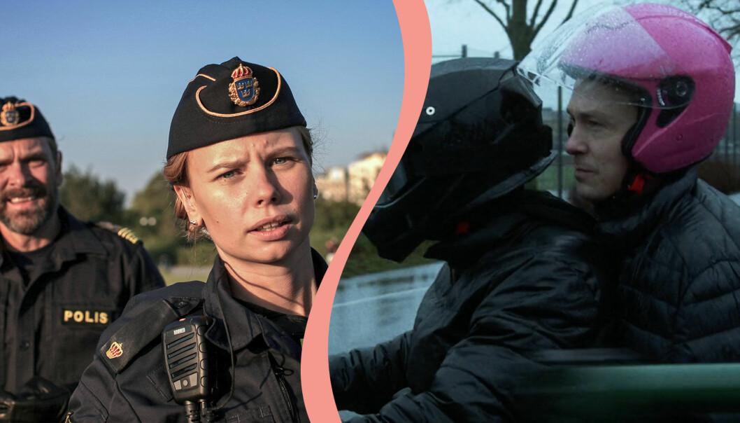 Delad bild. Till vänster syns Amanda Jansson och Per Lasson i en scen av Tunna blå linjen. Till höger syns Oscar Töringe och Alan Beqiri i en scen i samma serie.