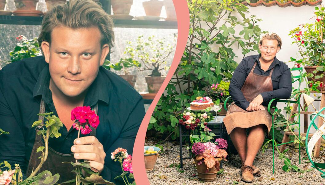 Två bilder på Karl Fredrik Gustafsson som snart är aktuell med nya livsstilsprogrammet Karl Fredrik på Österlen.