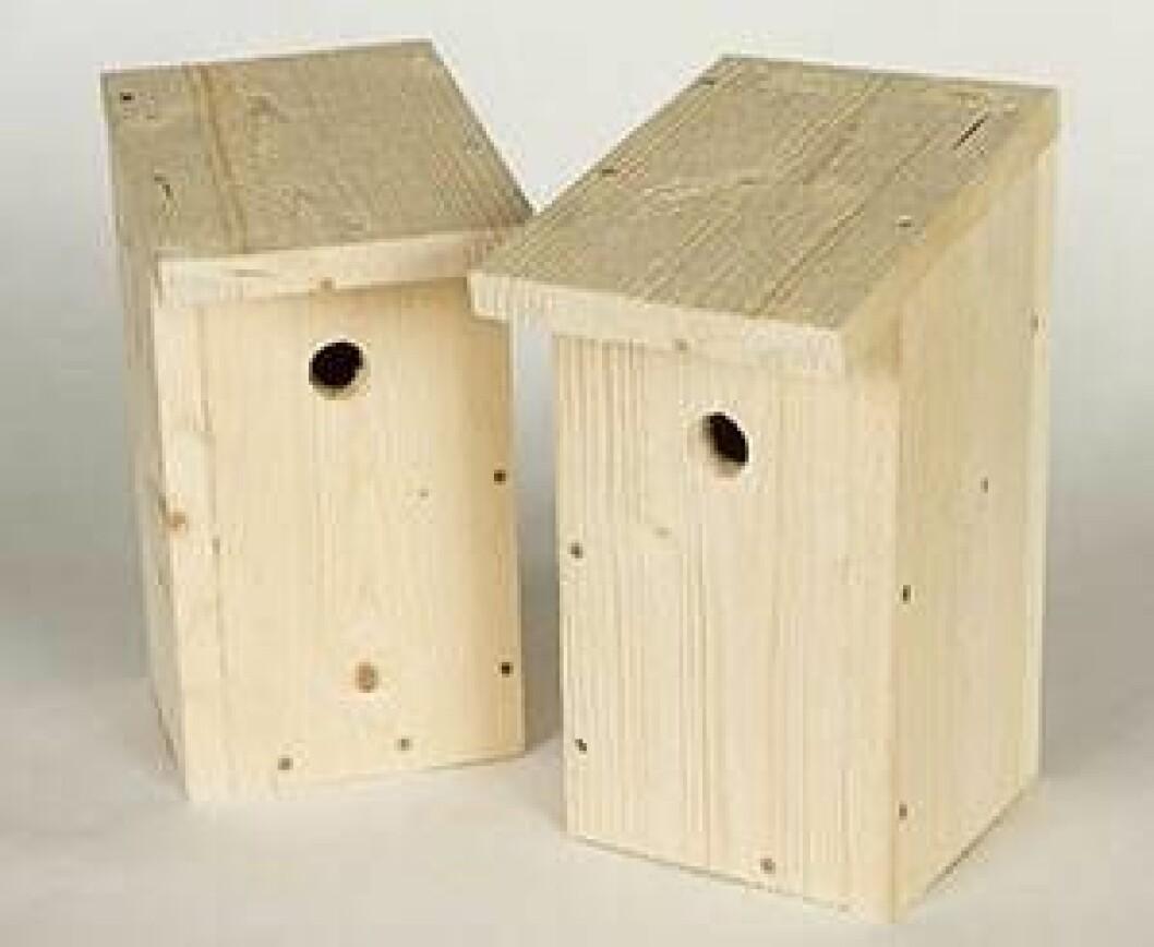 Två fina färdiga fågelholkar. Så enkelt att bygga själv.
