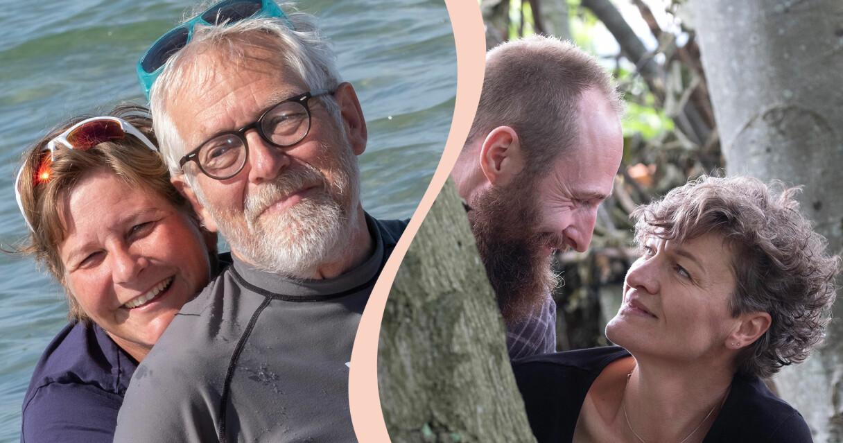 Två par på bild med en kombinerad åldersskillnad på 37 år – 12 respektive 25 års åldersskillnad.