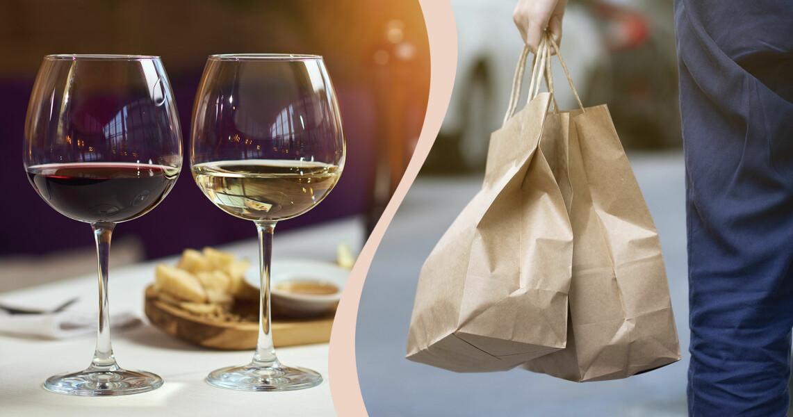 Kollage av två glas vin och hämtmat i pappåse.