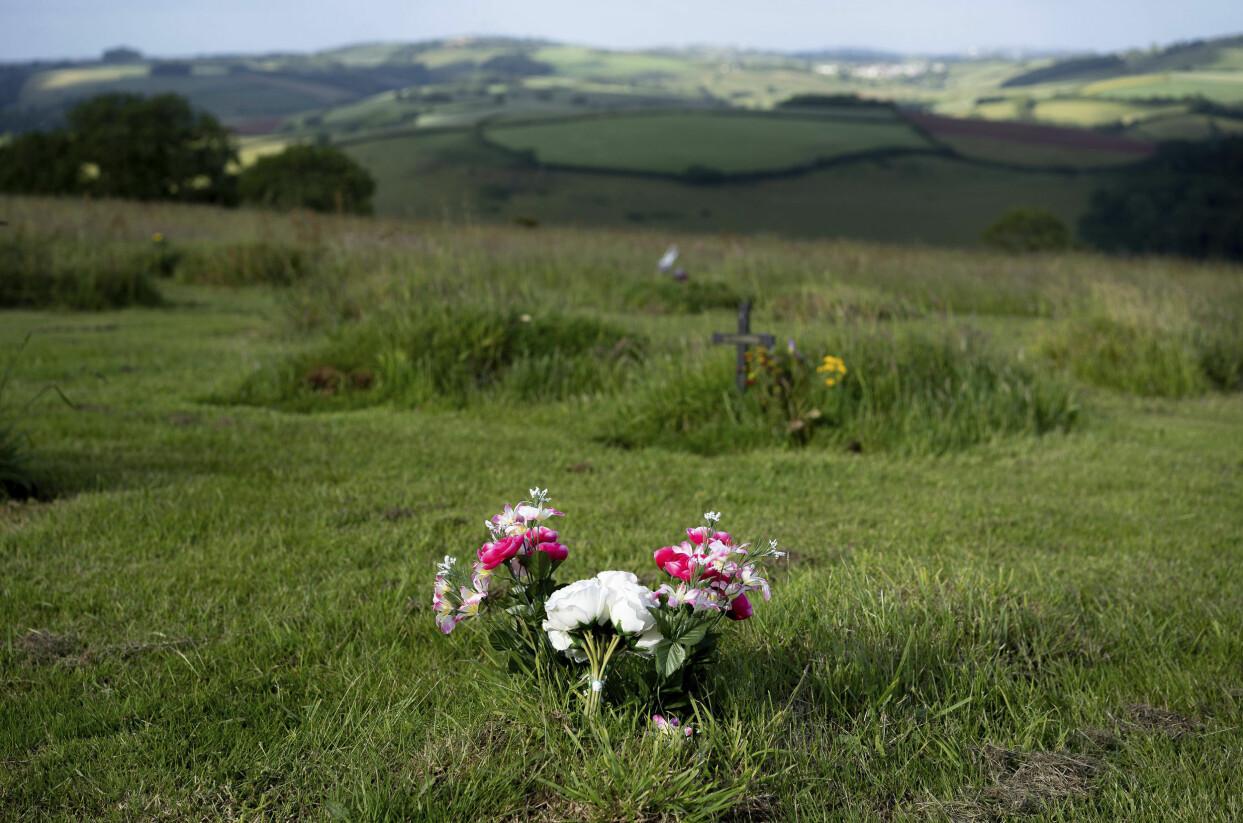 Utsikt från grön begravningsplats i England