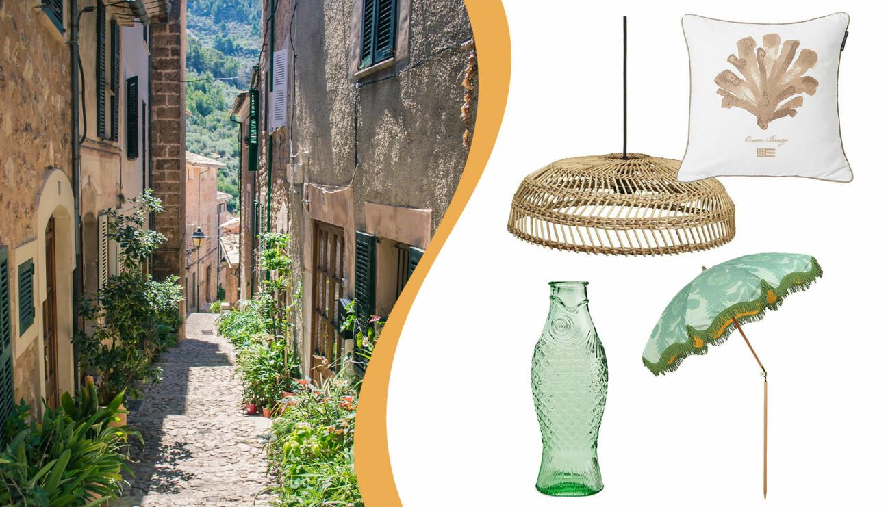 Bild från franska rivieran samt kudde, flaska, parasoll och taklampa