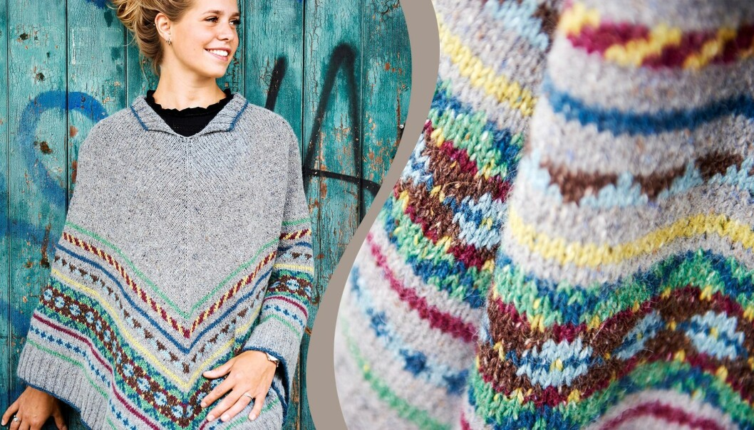 Stickad poncho med folklore-mönster