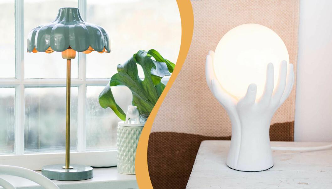 Lampa med vågig kant, från PR Home och lampa med händer, från Lagerhaus
