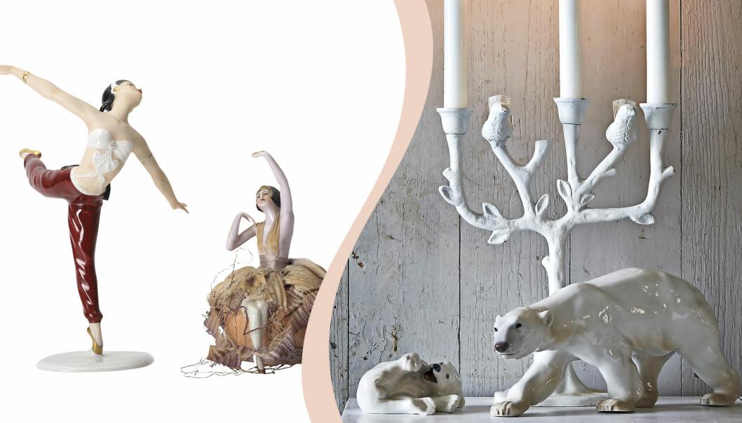 Delad bild: Två figuriner föreställande dansande kvinnor, till höger två vita isbjörnar i porslin och en vit kandelaber.
