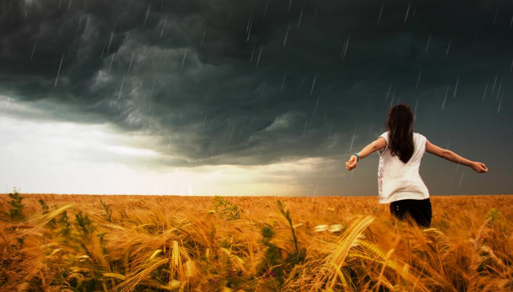 Kvinna på fält med stormig himmel