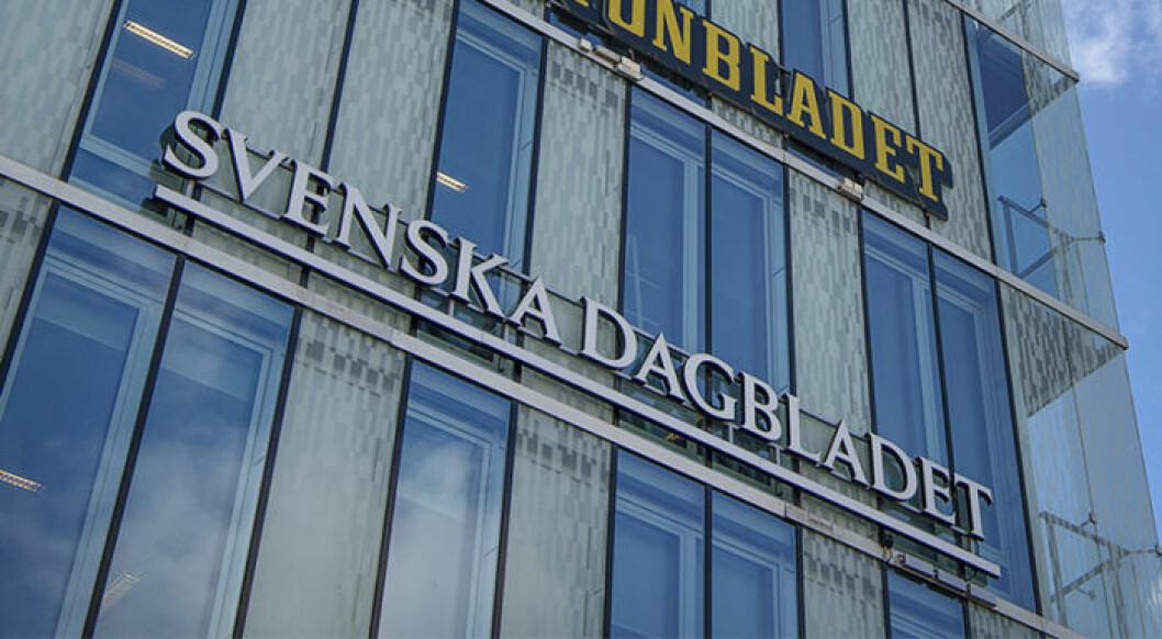 Svenska Dagbladets logga på redaktionshuset i Stockholm.