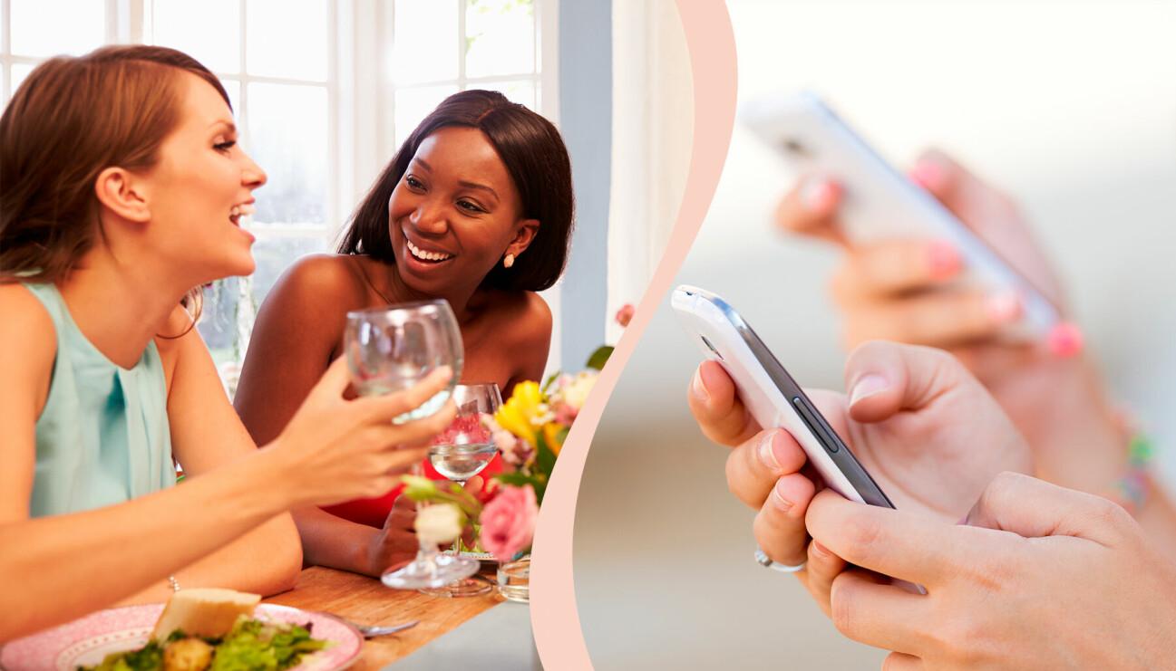 Kvinnor delar notan med swish