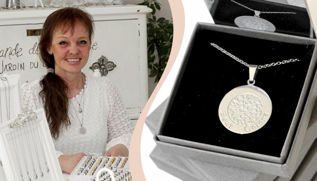 Veronica Börjesson skapar smycken för att sedan skänka delar av vinsten till välgörenhet. Smycket Beat Corona har bidragit till tårtor och choklad till personal inom covidvården.