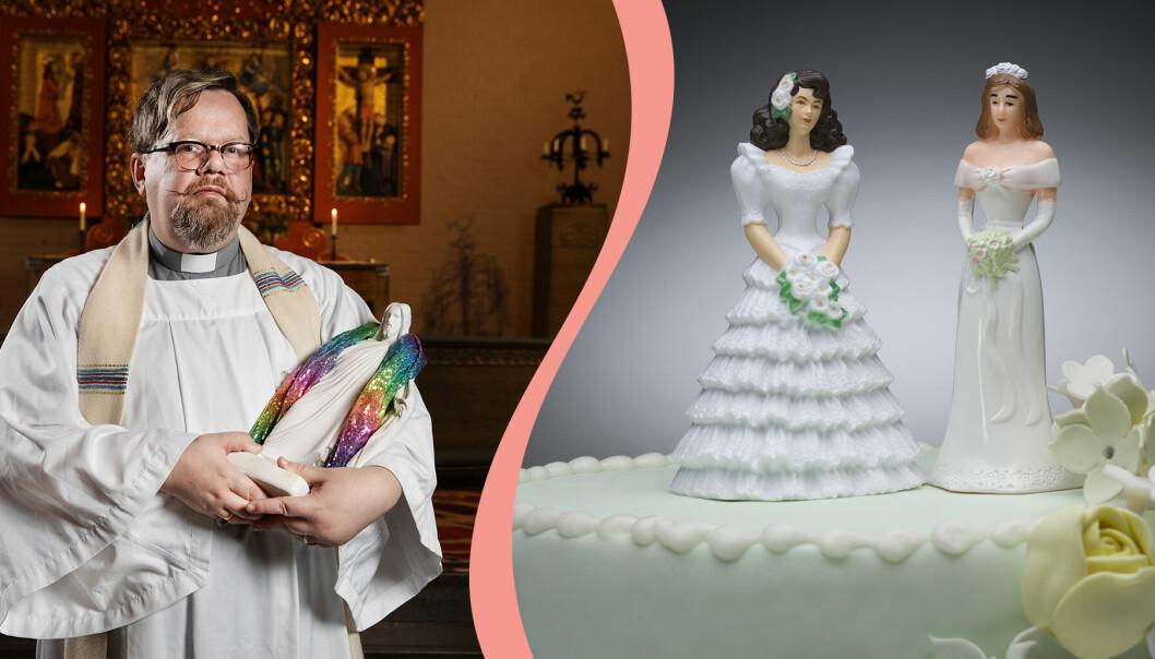 Till vänster, prästen Lars Gårdfeldt, till höger, två kvinnofigurer längst upp på en bröllopstårta.