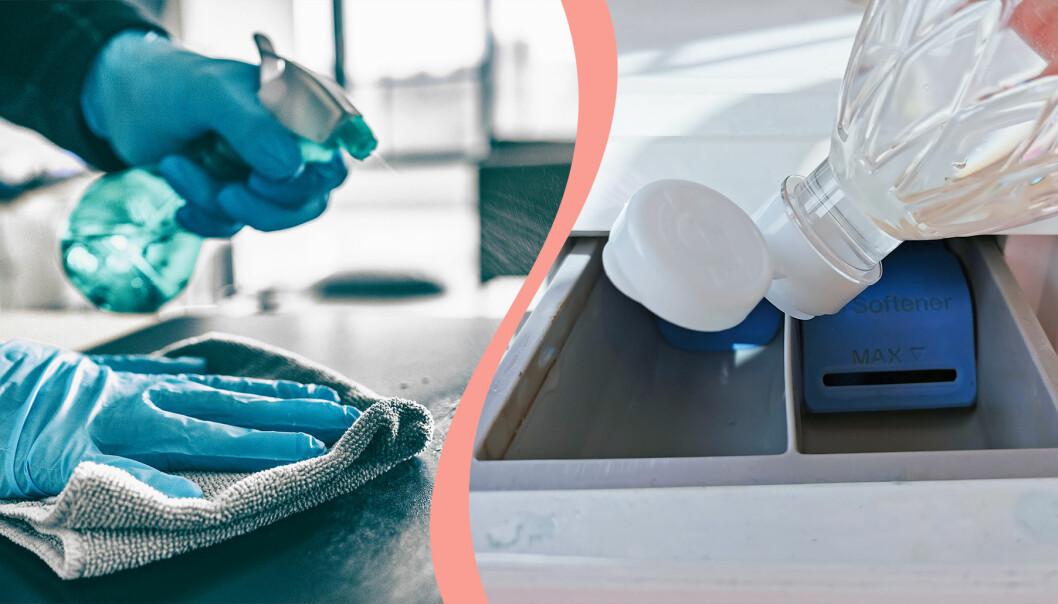 Till vänster, städning av en yta med hjälp av spraymedel, till höger, en vätska hälls i en tvättmaskin.