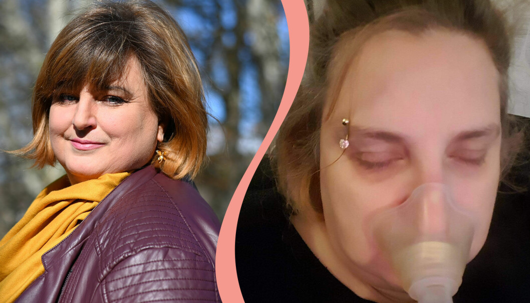 Delad bild. Till vänster syns Yvette Lissman som är långtidssjuk i covid-19. Till höger syns hon andas i en maskin när hon var som sjukast.